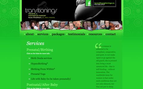 Screenshot of Services Page transitionings.ca - Prenatal and Postpartum Support - Toronto and the GTA - Transitionings - captured Oct. 20, 2018