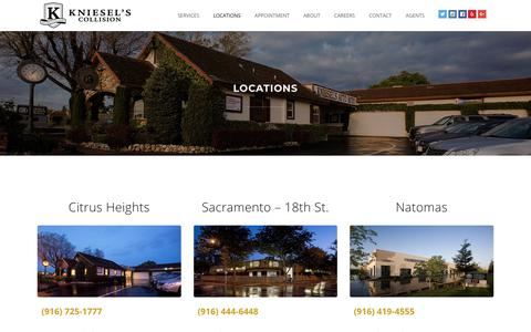 Screenshot of Locations Page kniesels.com - Kniesel's Collision |   Locations - captured Oct. 15, 2018