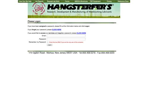 Screenshot of Pricing Page hangsterfers.com - Please Logon - captured Oct. 1, 2014