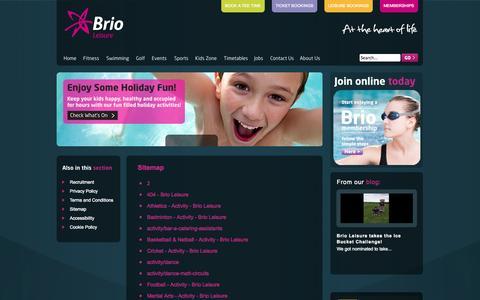 Screenshot of Site Map Page brioleisure.org - Sitemap - Brio Leisure - captured Sept. 30, 2014