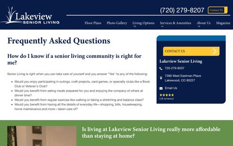 Screenshot of FAQ Page spectrumretirement.com - FAQs | Lakeview Senior Living - captured Jan. 31, 2018