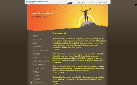 Screenshot of Testimonials Page nftl.org - New Foundations Transitional Living - TESTIMONIALS  - Cincinnati, OH - captured Oct. 6, 2014