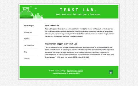 Screenshot of Home Page tekst-lab.nl - TEKST LAB: Ervaren tekstschrijver in Groningen - Tekstschrijver - captured Sept. 30, 2014