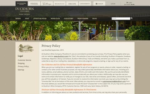 Screenshot of Privacy Page duckhorn.com - Duckhorn Vineyards - Privacy Policy - captured July 19, 2016