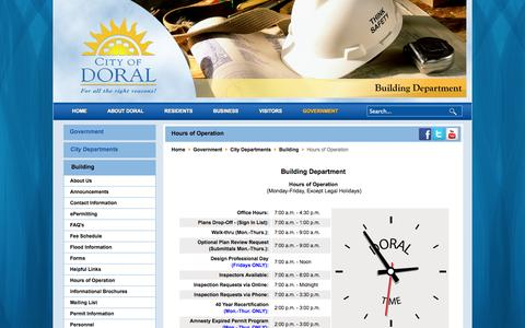 Screenshot of Hours Page cityofdoral.com - City of Doral, Florida - Hours of Operation - captured Sept. 29, 2014