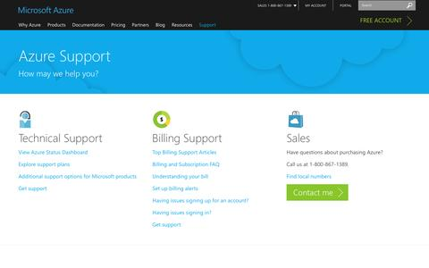 Screenshot of Contact Page Support Page microsoft.com - Microsoft Azure Support Options | Azure - captured July 3, 2016