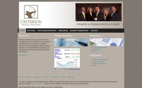 Screenshot of Home Page criterionwa.com - Home | Criterion Wealth Advisors, LLC - captured Oct. 3, 2014