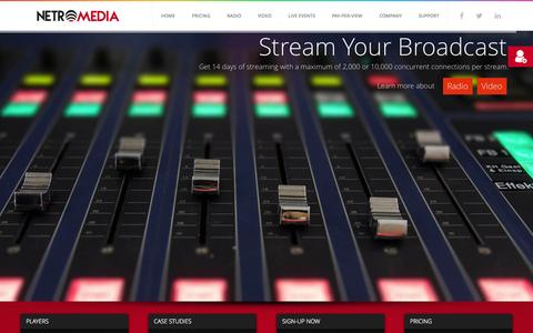 Screenshot of Home Page netromedia.com - Radio, Video & Live Streaming Solutions - NetroMedia - captured Nov. 19, 2015