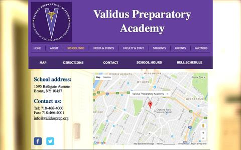 Screenshot of Contact Page Maps & Directions Page validusprep.org - validus | SCHOOL INFO - captured Dec. 3, 2016