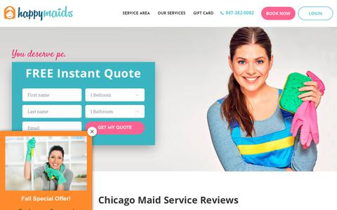 Screenshot of Testimonials Page happymaids.com - Chicago Maid Service Reviews | Best Chicago Cleaning Company | Yelp - captured Nov. 4, 2018