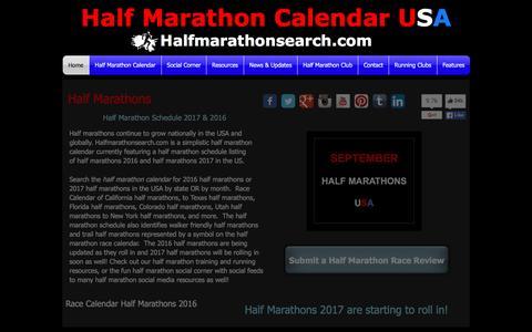Screenshot of Home Page halfmarathonsearch.com - Half Marathons - 2017 - 2016 - Half Marathon Schedule - Calendar - captured Jan. 24, 2016
