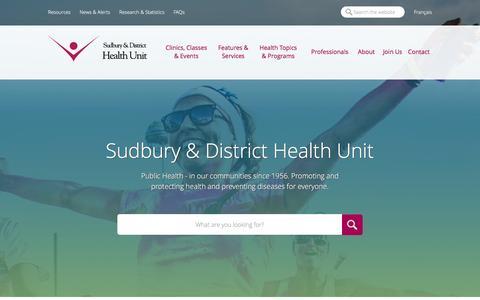 Screenshot of Home Page sdhu.com - Sudbury & District Health Unit - Home - captured March 4, 2016