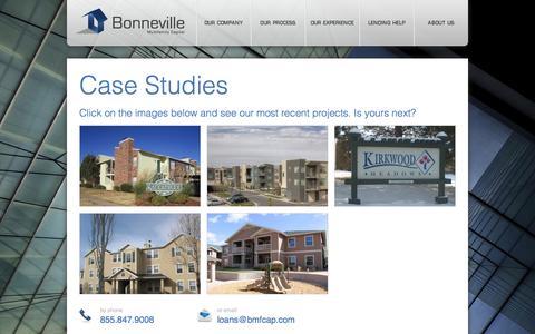 Screenshot of Case Studies Page bmfcap.com - Case Studies | Bonneville Multifamily Capital - captured Oct. 5, 2014