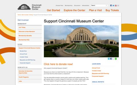 Screenshot of Support Page cincymuseum.org - Support Cincinnati Museum Center | Cincinnati Museum Center - captured Sept. 25, 2014