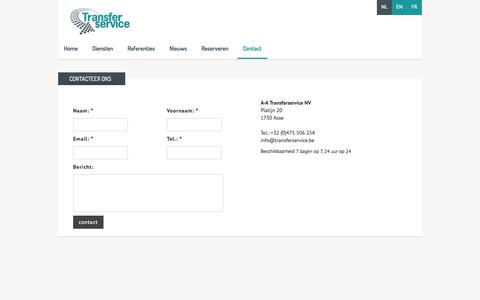 Screenshot of Contact Page transferservice.be - Contact | AA Transfer Service - captured Oct. 29, 2014