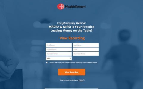 Screenshot of Landing Page healthstream.com - HealthStream Complimentary Webinar - captured Sept. 19, 2018