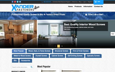 Screenshot of Home Page Blog About Page Privacy Page Contact Page Jobs Page FAQ Page Site Map Page Login Page Terms Page Testimonials Page xfasteners.com - High quality wood screws and construction fasteners - Xander Fasteners, Inc. - captured Oct. 6, 2014