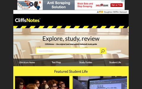 Screenshot of Home Page cliffsnotes.com - CliffsNotes Study Guides | Book Summaries, Test Preparation & Homework Help | Written by Teachers - captured Jan. 13, 2016