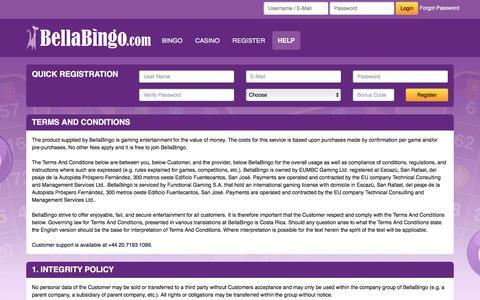 Screenshot of Terms Page bellabingo.com - BellaBingo - captured March 29, 2016