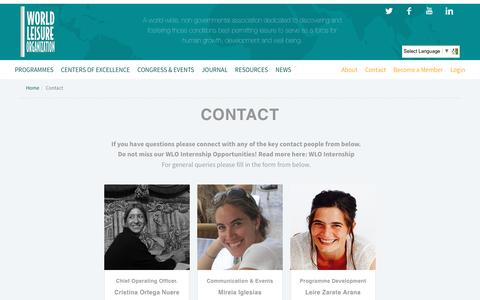Screenshot of Contact Page worldleisure.org - Contact – world leisure - captured Dec. 13, 2016