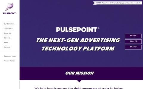 Screenshot of Home Page pulsepoint.com - PulsePoint   The next-generation technology platform - captured Sept. 12, 2014