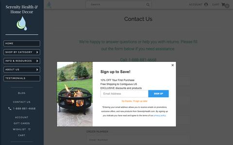 Screenshot of Contact Page serenityhealth.com - Contact Us - captured Oct. 11, 2018