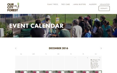 Screenshot of Support Page ourcityforest.org - Event Calendar— Our City Forest - captured Dec. 18, 2016