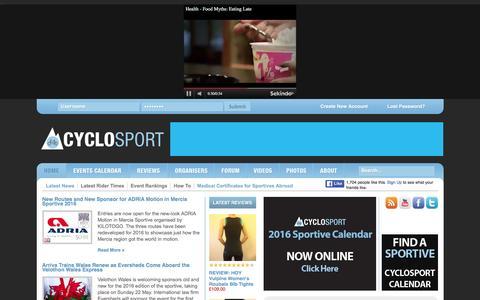 Screenshot of Home Page cyclosport.org - Cyclosport | The definitive British cycling events and UK cyclo sportive calendar 2016 - captured Jan. 19, 2016