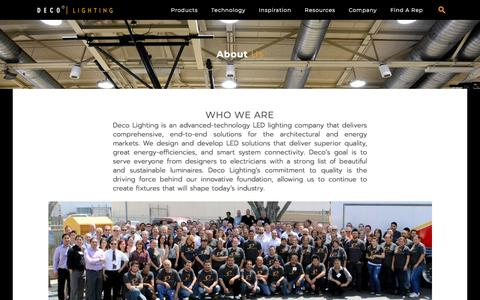 Screenshot of About Page getdeco.com - LED Lighting Companies | LED Lighting Manufacturers and Suppliers - captured Aug. 9, 2019