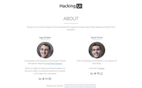 Screenshot of About Page hackingui.com - About   Hacking UI Magazine - captured Sept. 19, 2014
