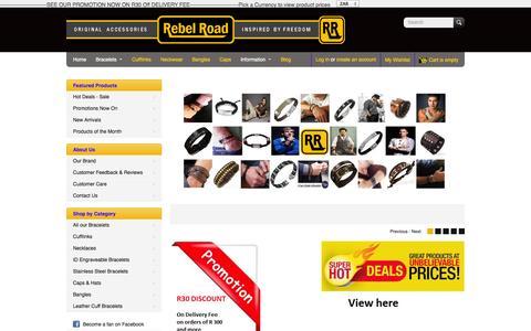 Screenshot of Home Page rebelroad.co.za - Shop Bracelets from Rebel Road. Leather, Steel Range. Delivered - captured Oct. 6, 2014