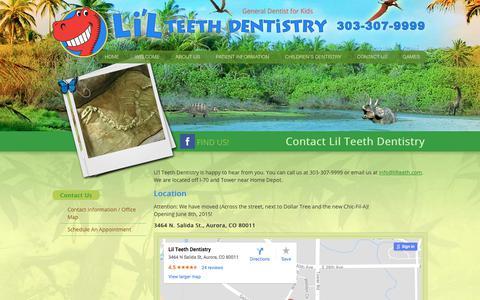 Screenshot of Contact Page lilteeth.com - 3464 N. Salida St. Aurora CO 80011 | Children's Dentist Office - captured Aug. 4, 2017