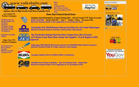 Screenshot of Home Page volksbolts.com - VolksBolts Home - Air-Cooled VW High Tensile & Stainless Steel Fastener Specialist - captured Oct. 7, 2014
