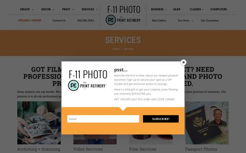 Screenshot of Services Page f11photo.com - Photo Printing Services in Bozeman, MT | The Print Refinery Bozeman - captured Oct. 2, 2018