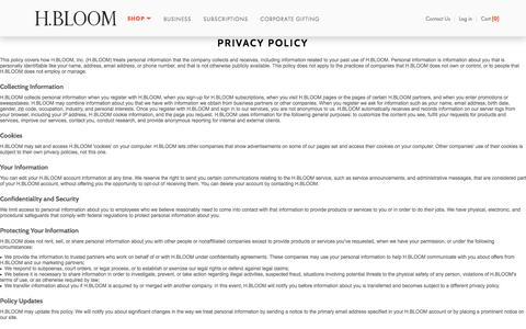 Privacy Policy  | H.BLOOM