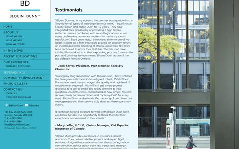 Screenshot of Testimonials Page blouindunn.com - Testimonials | BlouinDunn - captured Oct. 5, 2014