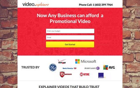 Screenshot of Landing Page videoexplainers.com - Promotional Video - captured Dec. 9, 2015