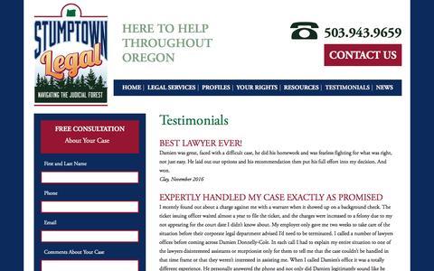 Screenshot of Testimonials Page stumptownlegal.com - Reviews of Damien S. Donnelly-Cole & Stumptown Legal | Stumptown Legal - captured Dec. 18, 2016