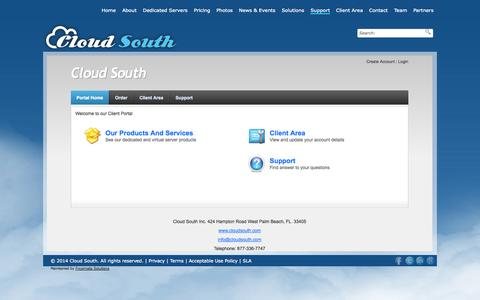 Screenshot of Support Page cloudsouth.com - Support «  Cloud South - captured Oct. 28, 2014