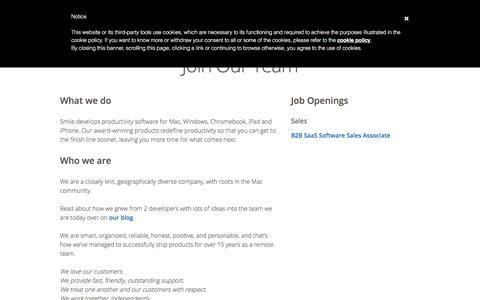 Screenshot of Jobs Page smilesoftware.com - Job Openings | Smile - captured Aug. 1, 2019