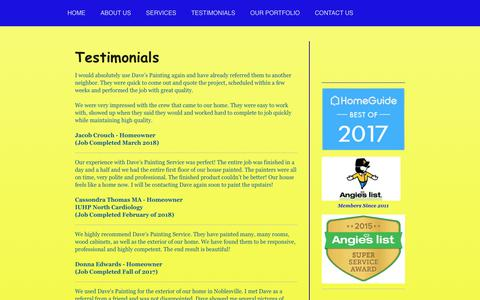 Screenshot of Testimonials Page davespaintingservice.com - Dave's Painting Service - TESTIMONIALS - captured Nov. 6, 2018