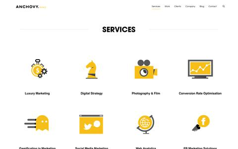 Screenshot of Services Page anchovyluxury.com - Expertise - Digital Luxury Marketing - captured Oct. 4, 2014