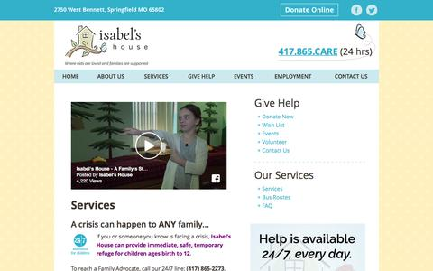 Screenshot of Services Page isabelshouse.org - Services | Isabel's House - captured June 8, 2017