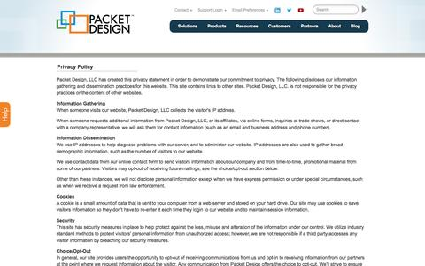 Screenshot of Privacy Page packetdesign.com - Privacy Policy   Packet Design - captured June 17, 2015