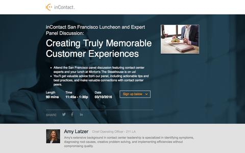 Screenshot of Landing Page incontact.com - inContact San Francisco Luncheon and Expert Panel Discussion - captured March 17, 2016