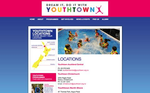 Screenshot of Locations Page youthtown.org.nz - Youthtown - Discover Fun & Adventure | Locations - captured Oct. 7, 2014