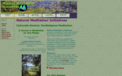Screenshot of Home Page natural-meditation.org - Natural Meditation Initiatives - non-religious meditation introduction and online course - captured Oct. 7, 2014