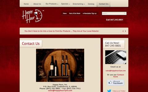 Screenshot of Contact Page happyhour5pm.com - Contact Us - captured Oct. 2, 2014