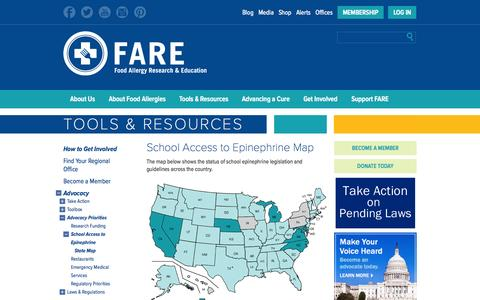 Screenshot of Maps & Directions Page foodallergy.org - Advocacy - School Access to Epinephrine Map - Food Allergy Research & Education - captured Sept. 24, 2014