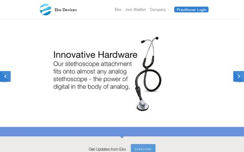 Screenshot of Home Page ekodevices.com - Eko Devices » The Worlds Most Intelligent Stethoscope - captured July 11, 2014